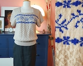 Amazing blouse hand knitted after 1940s pattern - home made. Size EU 40-44 // UK 14-18 // 10-14. Waist 80-92 cm / 31,5-36,2 inches