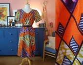 Dress from the 1970s. Size EU 40-42 / UK 14-16 / US 10-14. Chest 98 cm / 38,6 inches