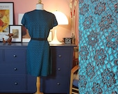 Cocktail dress from the 1960s. Petrol blue 60s dress. Size EU 42-44 / UK 16-18 / US 12-14. Waist 94 cm / 37 inches