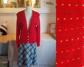 Cardigan from the 1970s - so cool. Vintage cardigan. Size EU 38-42 / UK 12-16 / US 8-12. Waist 84 cm / 33,1 inches