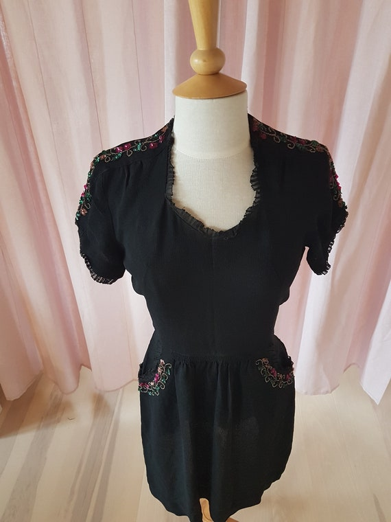 Day dress from the 1940s. Lovely black 40s dress.… - image 3