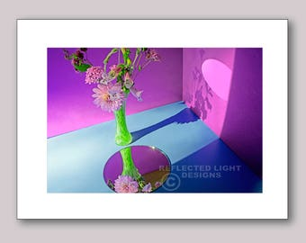 Photo Note Card, Fuschia Floral Arrangement and Reflection