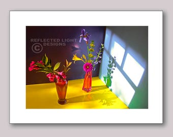 Photo Note Card, Assorted Blossoms in Red Vases