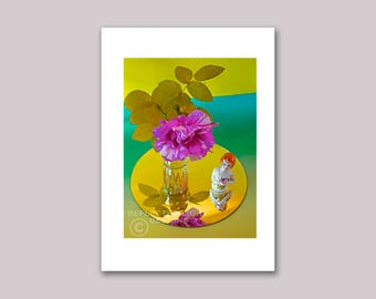 Photo Note Card, Roses & Figurine