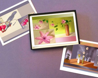 Boxed Set of 12 Flower & Shadow Montage Photo Note Cards