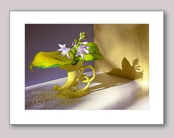 Photo Note Card, Hosta Blossoms in Deco Vase