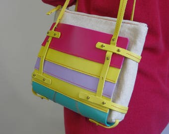 LEATHER basket bag / Linen bag / Bag in the bag / Linen zipper pouch / Natural leather / Red / Yellow / Mauve / Rainbow / Beige bag