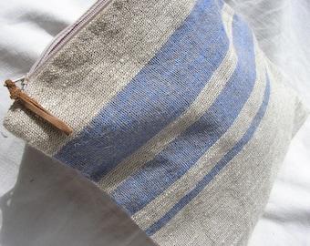 LINEN CLUTCH / Makeup bag / Waterproof beach bag / Bag of beach trivia / Original purse / Cosmetic bag / Linen zipper pouch / Linen bag