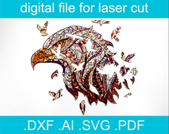 Laser Cut Files Puzzle SVG Jigsaw Puzzles For Adults Eagle Puzzle For Glowforge