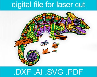 Laser Cut Files Puzzle SVG Jigsaw Puzzles For Adults chameleon Puzzle For Glowforge