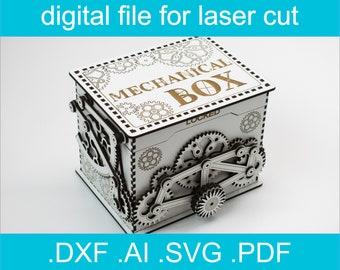 Laser Cut Files - Mechanical Box, SVG Laser cut File, glowforge svg file, laser cut box file, laser svg, laser vector, glowforge project