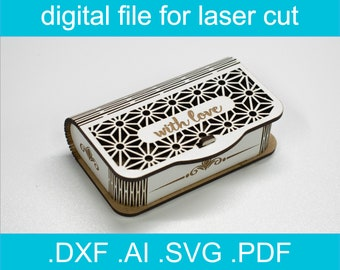Laser Cut Files Box SVG  Lasercut Vector For Glowforge Gift Box For Small Items