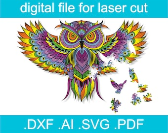 Laser Cut Files Puzzle SVG Jigsaw Puzzles For Adults Owl Puzzle For Glowforge