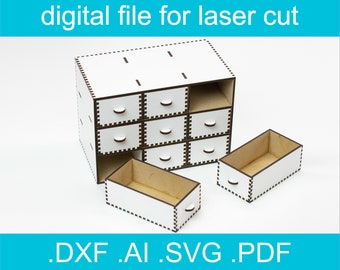 Laser Cut Files - Desktop Organizer With Drawers, Small Cabinet, Jewlery Organizer, Instant Download, Wooden Box