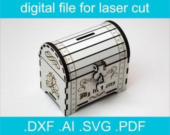 Laser Cut Files - Coin bank, Glowforge Files, Piggy Bank, Treasure Chest SVG, Svg Files, Laser Cut Box, Wooden Box, Lasercut