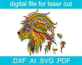 Laser Cut Files Puzzle SVG Jigsaw Puzzles For Adults Lion Puzzle For Glowforge