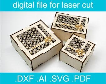 Laser Cut Files Box SVG Bundle 3 Sizes  Laser cut Vector For Glowforge Gift Box dxf, ai, svg, Cut File