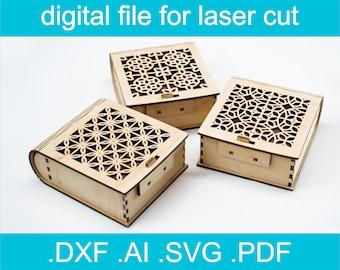 Laser Cut Files Box SVG Bundle 7 Designs  Laser cut Vector For Glowforge Gift Box dxf, ai, svg, Cut File