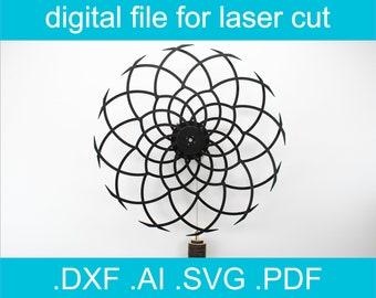 Laser Cut Files Kinetic Sculpture Svg Dxf plan For Glowforge CNC file