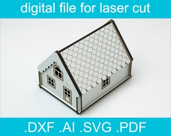 Laser Cut Files Box SVG Lasercut Vector For Glowforge House Box For Small Items