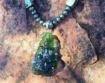 Moldavite Quan Yin and Pyrite necklace