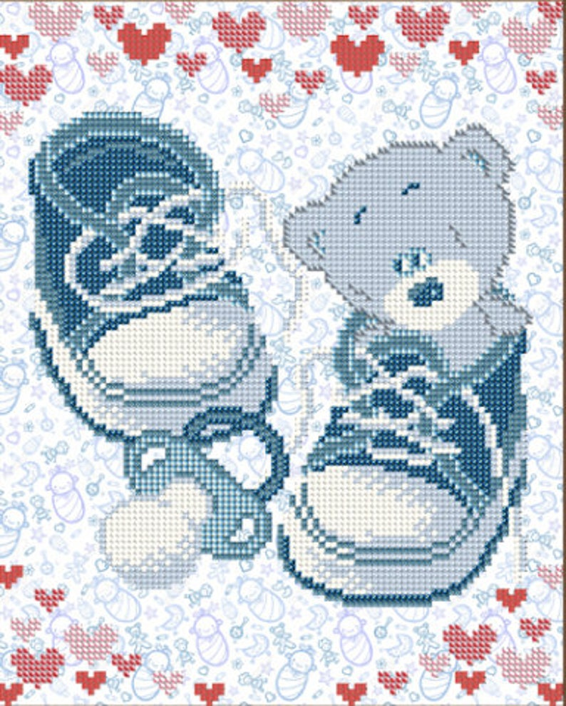DIY bead embroidery kit It is a boy Bead embroidery patterns Baby shower DIY beadpoint Baby gift Nursery decor