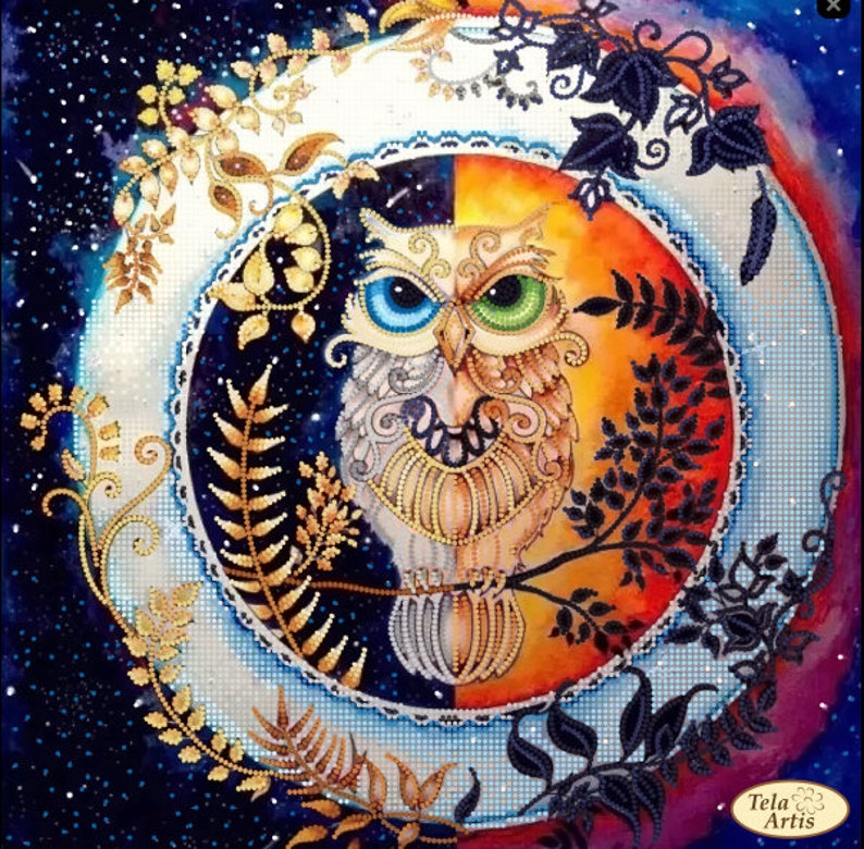 Owl Day and night Bead embroidery kit Bead patterns Bead picture Beaded embroidery kit Needlepoint