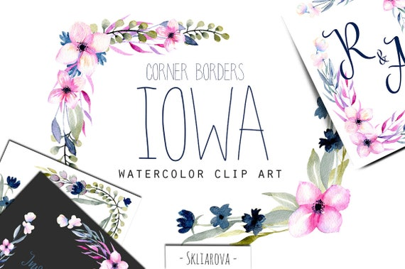 Watercolor Floral Corner Border Set Frame Pink Flower Clipart Spring Wildflower Blue Forget Me Not Digital Art Hand Painted Wedding Decor