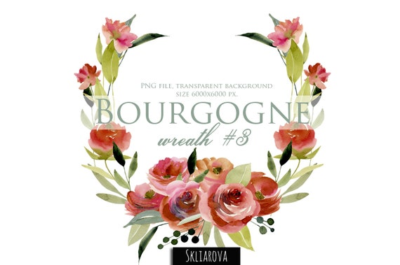 Watercolor Floral Wreath Red Roses Frame Border Card Template Burgundy Flower Digital Art Hand Painted Clipart Invitation Card Wedding Decor