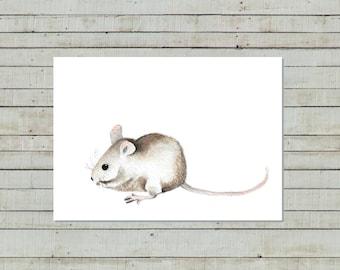 Mousie Illustration, woodland animal, nursery wall decor, kids room art, animal painting