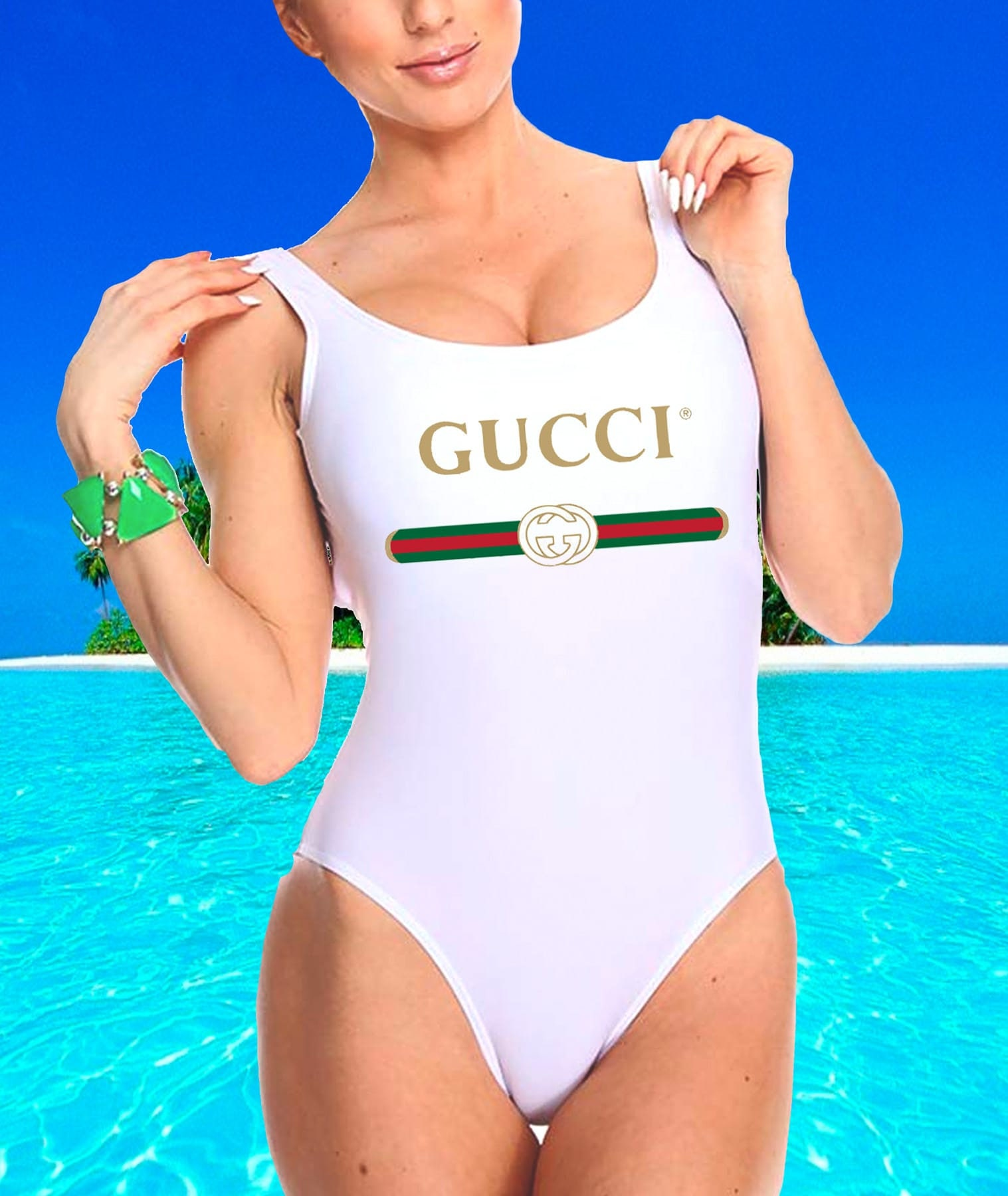 New 2018 Gucci Ivory White Swimsuit Women\'s Designer One
