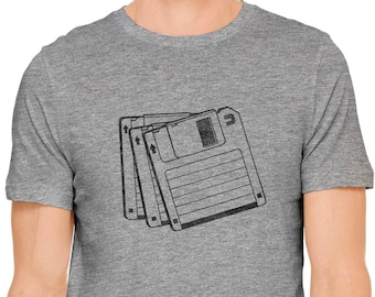 Austin Ink Apparel 90s Retro Floppy Disk Short Sleeve Cotton Mens T-Shirt