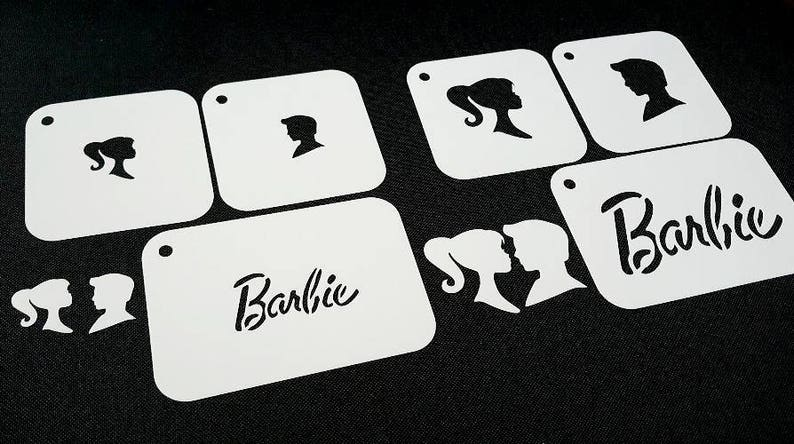 Set of 3pcs and Two Different Sizes Barbie Ken Text Silhouette image 0