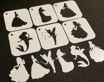Set of 6pcs Disney Style Princesses Mylar Reusable Stencils Card Making Cake Icing Dusting