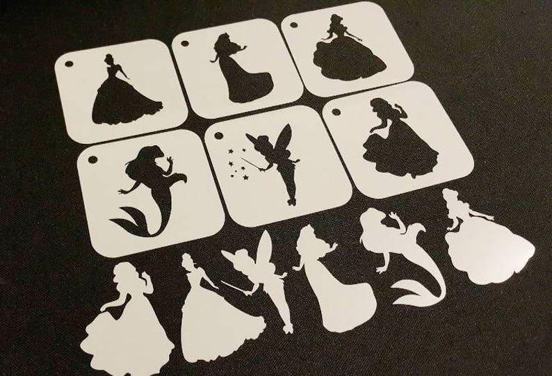 Set of 6pcs Disney Style Princesses Mylar Reusable Stencils image 1
