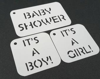 Set of 3pcs Baby Shower Text Stencils It's a Girl It's a Boy Party Decoration Gift Making Wall Paint Body Airbrush