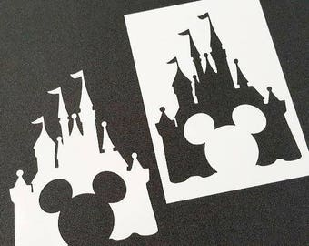 Disney Themed Mickey Mouse Castle Airbrush Paint Stencils Kids Party Cards Cake Cupcake Table Wall Home Room Decoration Disney Couple