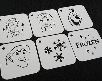 Set of 6pcs Frozen Style Stencils Olaf Elsa Anna Snowflakes Kristoff Text Airbrushing Paint Stencils Kids Party Cards Decoration