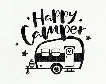 Happy Camper SVG, Camping dxf, png, eps, Silhouette Studio, Camping Clipart Cut File