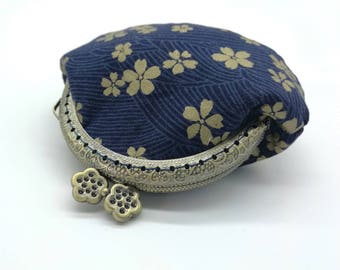 Yellow Blossom Blue Coin Purse / Blue Change Purse / Blue Kiss Lock Purse / Blue Coin Purse Clasp / Coin Purse Frame / Blue Kiss Lock Bag