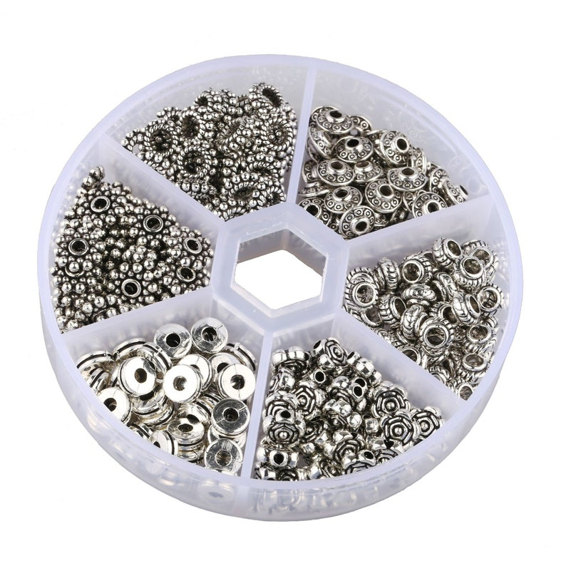 300pcs 6 Style Antique Silver Spacer Beads Tibetan Bali Alloy Tube Metal Spacers for Bracelet Necklace Jewelry Making Findings Accessories