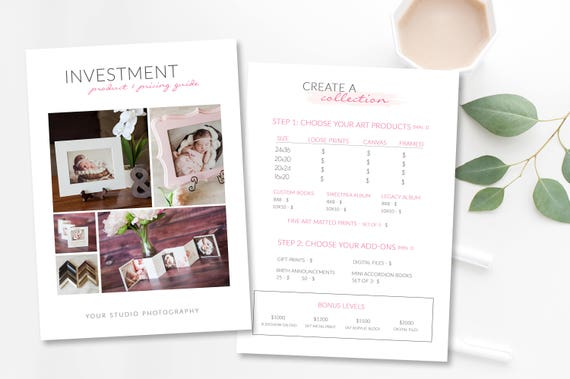 Photography Price List Template- Price Guide for Photographers -Create a  Collection Price Guide -Investment Guide Photography- Product guide