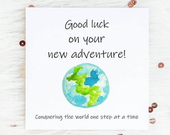 Graduation Card Adventure is Waiting Hand Drawn Card Congratulations /& Good Luck Hand Drawn Nature Card