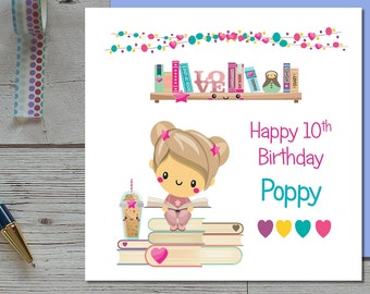 Girls Birthday Card - Kawaii Birthday Card - Personalised Birthday For Girls - Childrens Personalised Birthday Card - Cute Card - Teen Cards