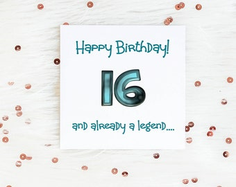 Boys Funny 16th Birthday Card 16 And Already A Legend Milestone Greeting Cards Teenager