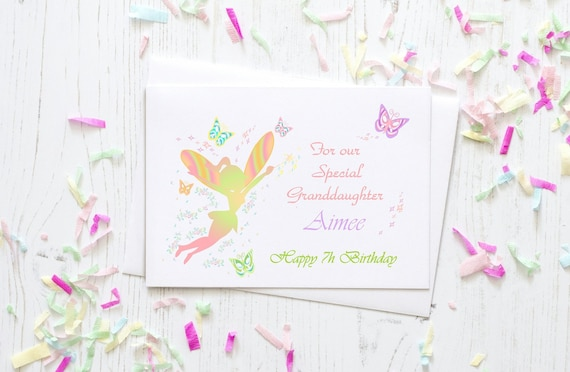 Personalised Fairy Theme Granddaughter Birthday Card Custom