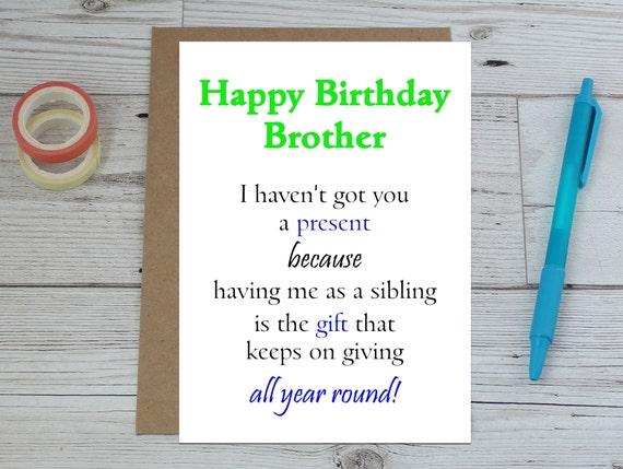 Scheda Di Compleanno Divertente Fratello Compleanno Fratello Etsy
