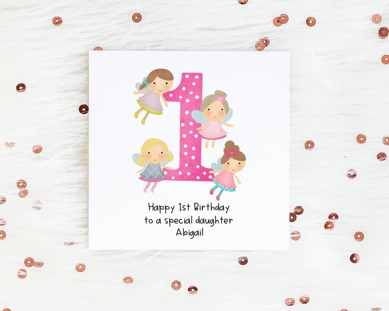 Girls First Birthday Card Personalised