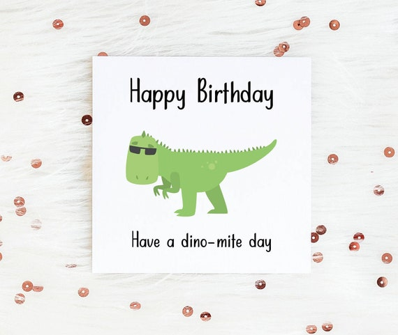 Have a Dinomite Day Dinosaur Pun Illustrated Greeting Card Hand Lettered and Illustrated