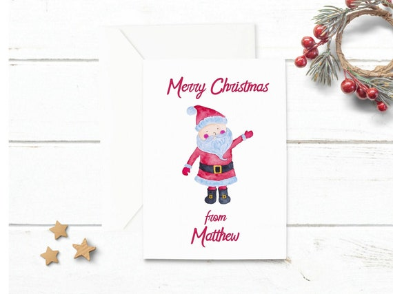 Children Christmas Cards.Santa Personalised Christmas Card Kids Christmas Card Pack Childrens Christmas Cards Christmas In July